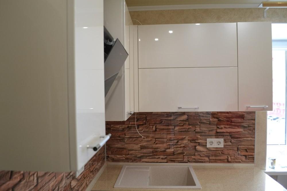 Белый кухонный гарнитур-Кухня МДФ в ПВХ «Модель 177»-фото2
