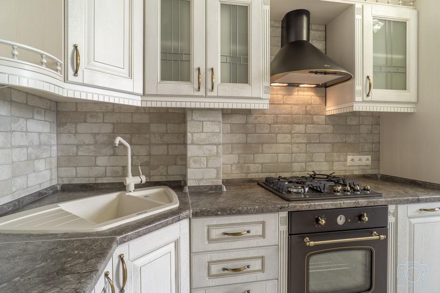 Белый кухонный гарнитур-Кухня из шпона «Модель 7»-фото6