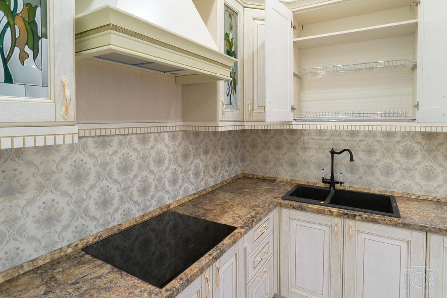 Белый кухонный гарнитур-Кухня из шпона «Модель 8»-фото6