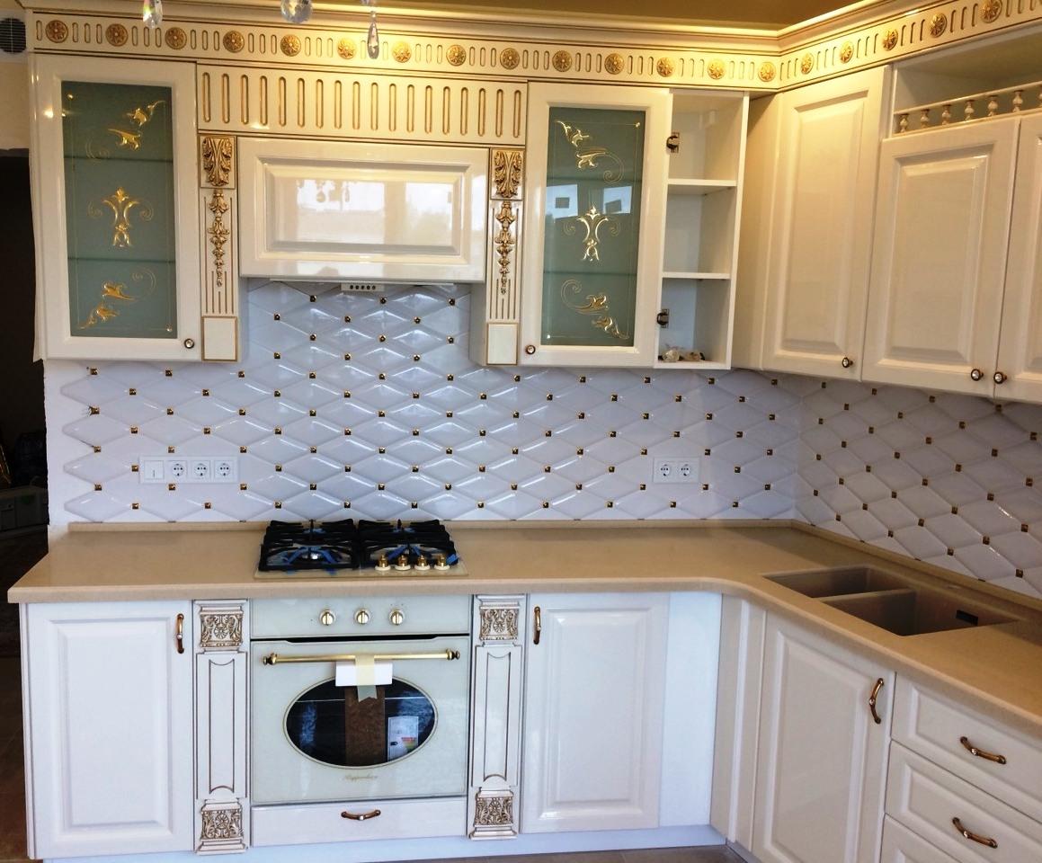 Белый кухонный гарнитур-Кухня МДФ в ПВХ «Модель 11»-фото2
