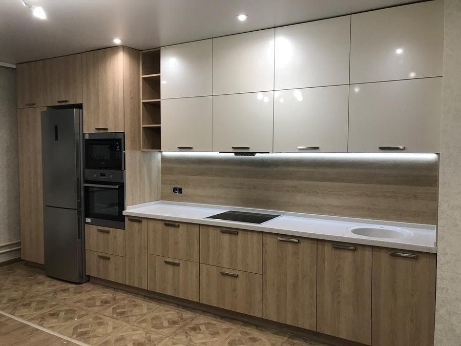 Белый кухонный гарнитур-Кухня МДФ в ПВХ «Модель 67»-фото1