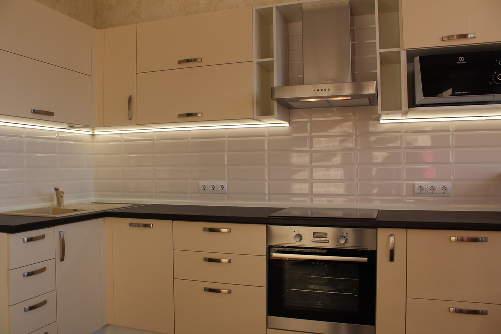 Акриловые кухни-Кухня МДФ в ПВХ «Модель 305»-фото3