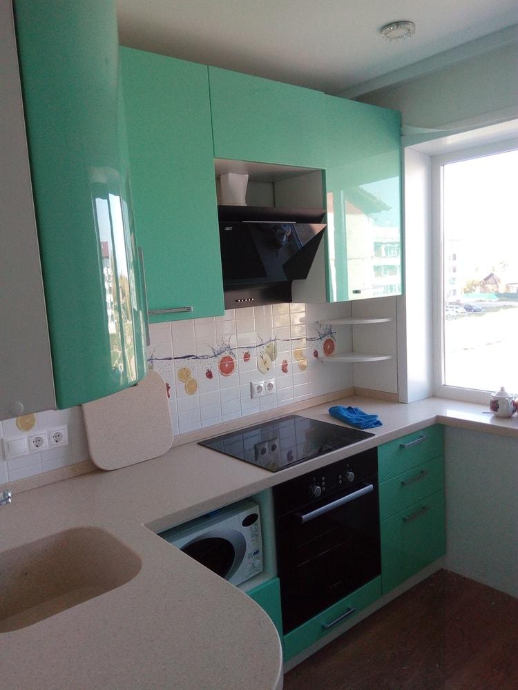 Встроенная кухня-Кухня МДФ в шпоне «Модель 335»-фото1