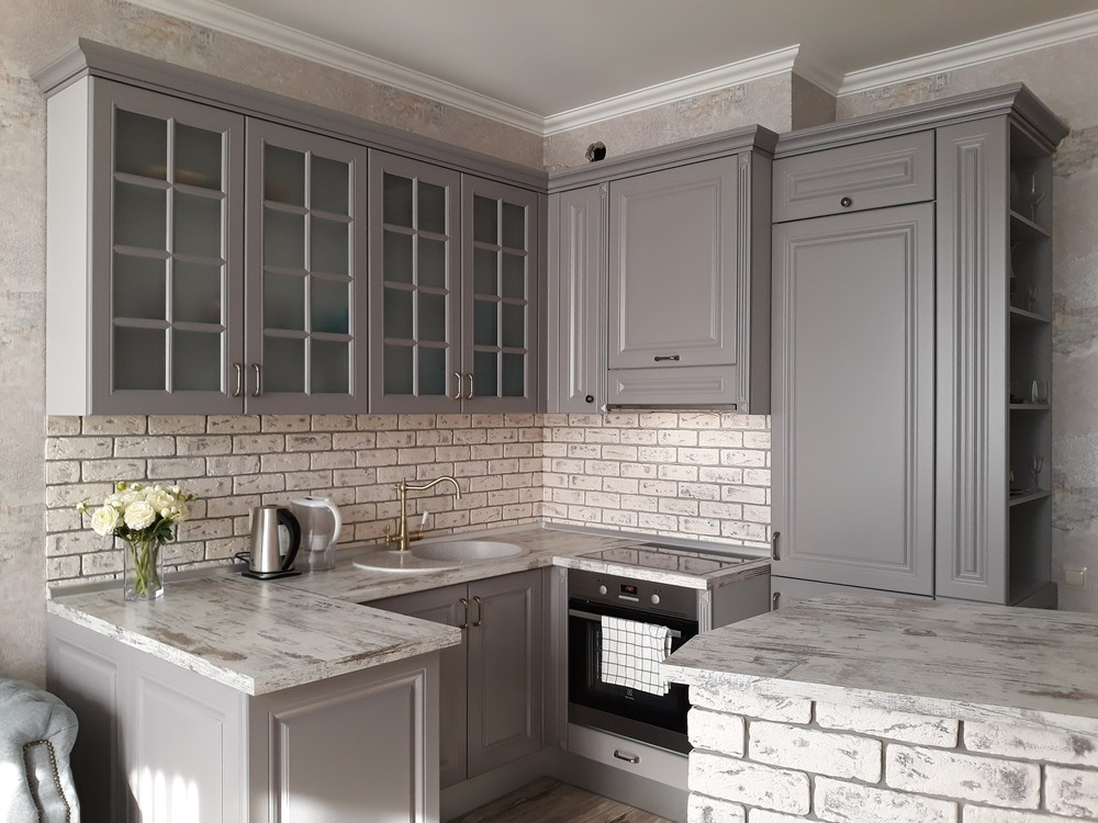 Встроенная кухня-Кухня МДФ в эмали «Модель 281»-фото1