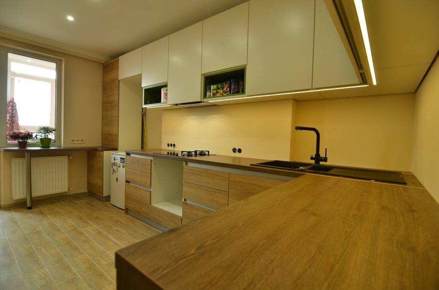 Белый кухонный гарнитур-Кухня из пластика «Модель 369»-фото1