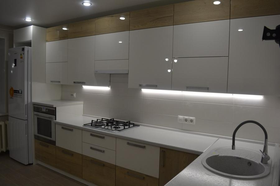 Белый кухонный гарнитур-Кухня из пластика «Модель 459»-фото2