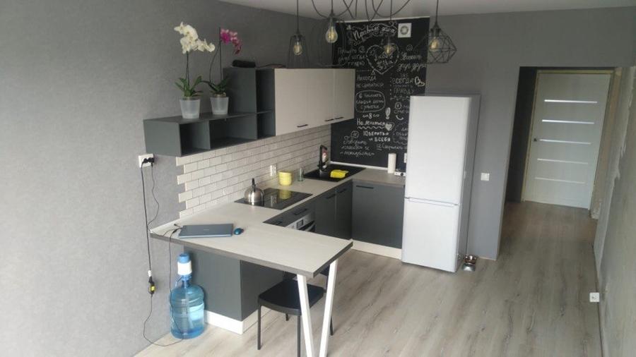 Белый кухонный гарнитур-Кухня из пластика «Модель 381»-фото1