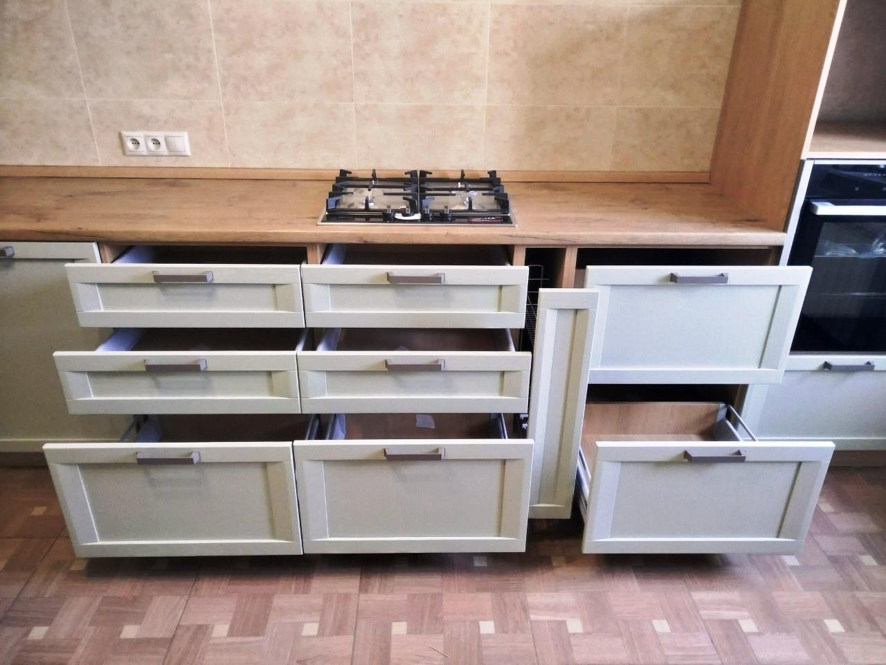 Белый кухонный гарнитур-Кухня из шпона «Модель 537»-фото5