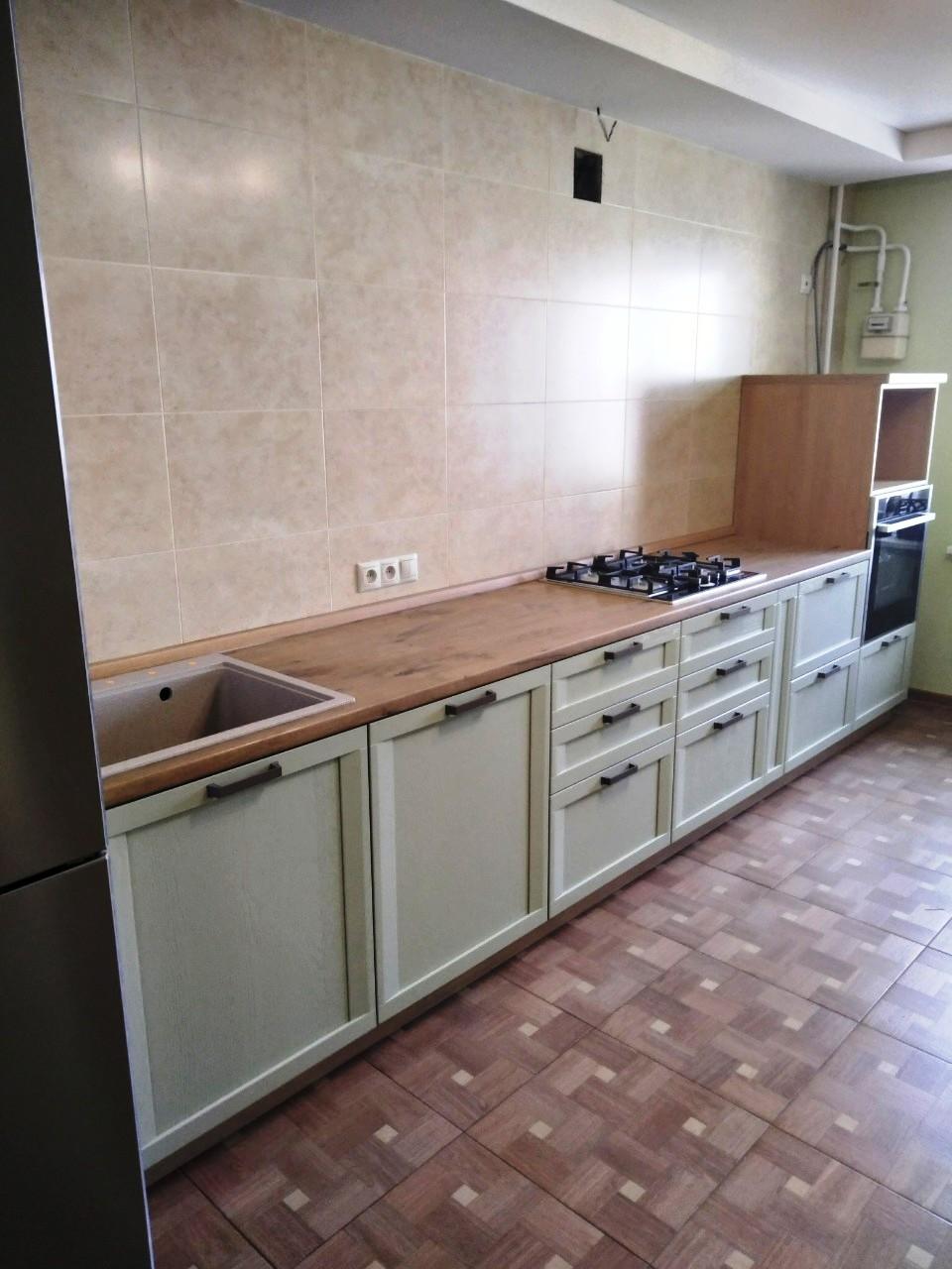 Белый кухонный гарнитур-Кухня из шпона «Модель 537»-фото1