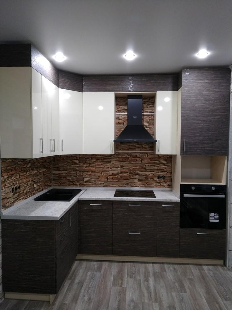 Белый кухонный гарнитур-Кухня МДФ в ПВХ «Модель 523»-фото1