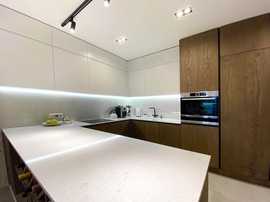 Белый кухонный гарнитур-Кухня МДФ в эмали «Модель 618»-фото5
