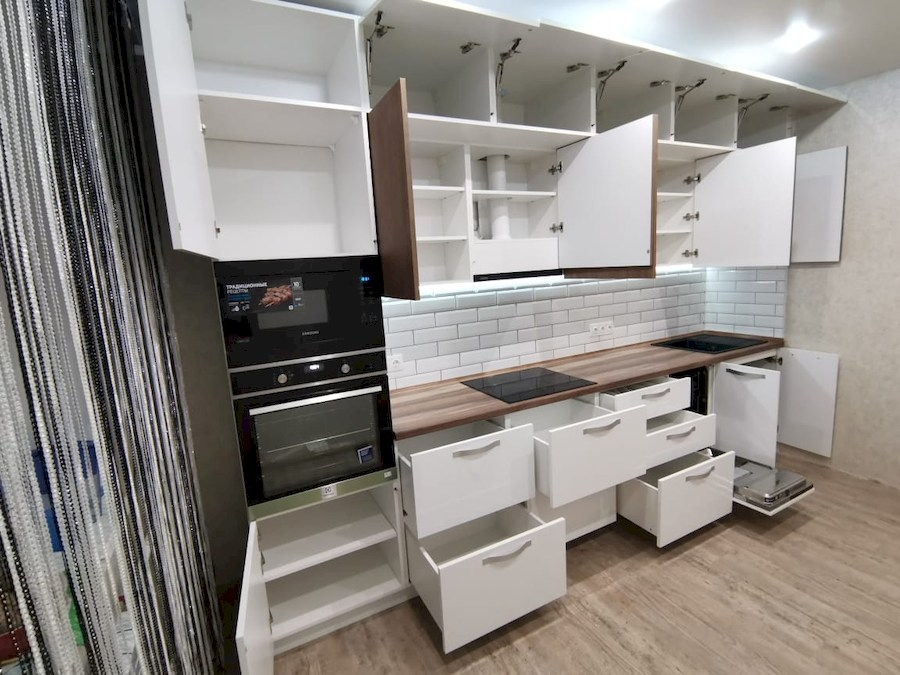 Белый кухонный гарнитур-Кухня МДФ в ПВХ «Модель 577»-фото7