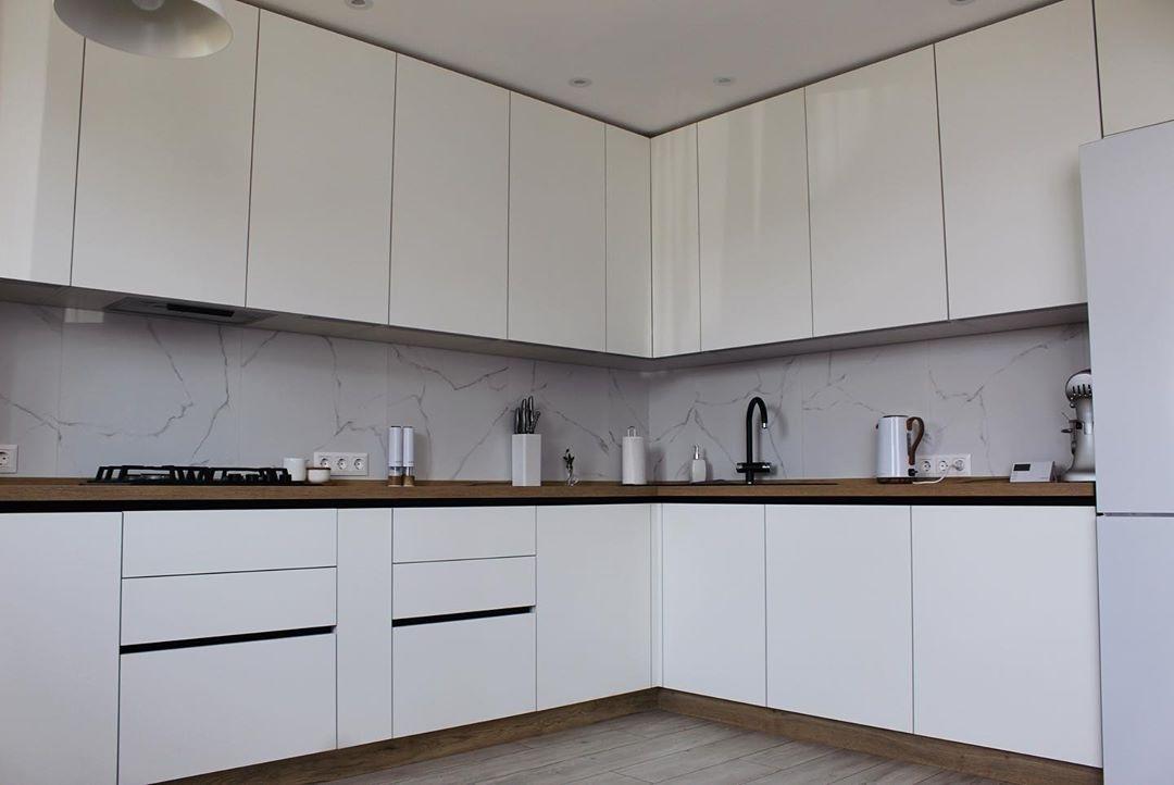 Белый кухонный гарнитур-Кухня МДФ в эмали «Модель 616»-фото2