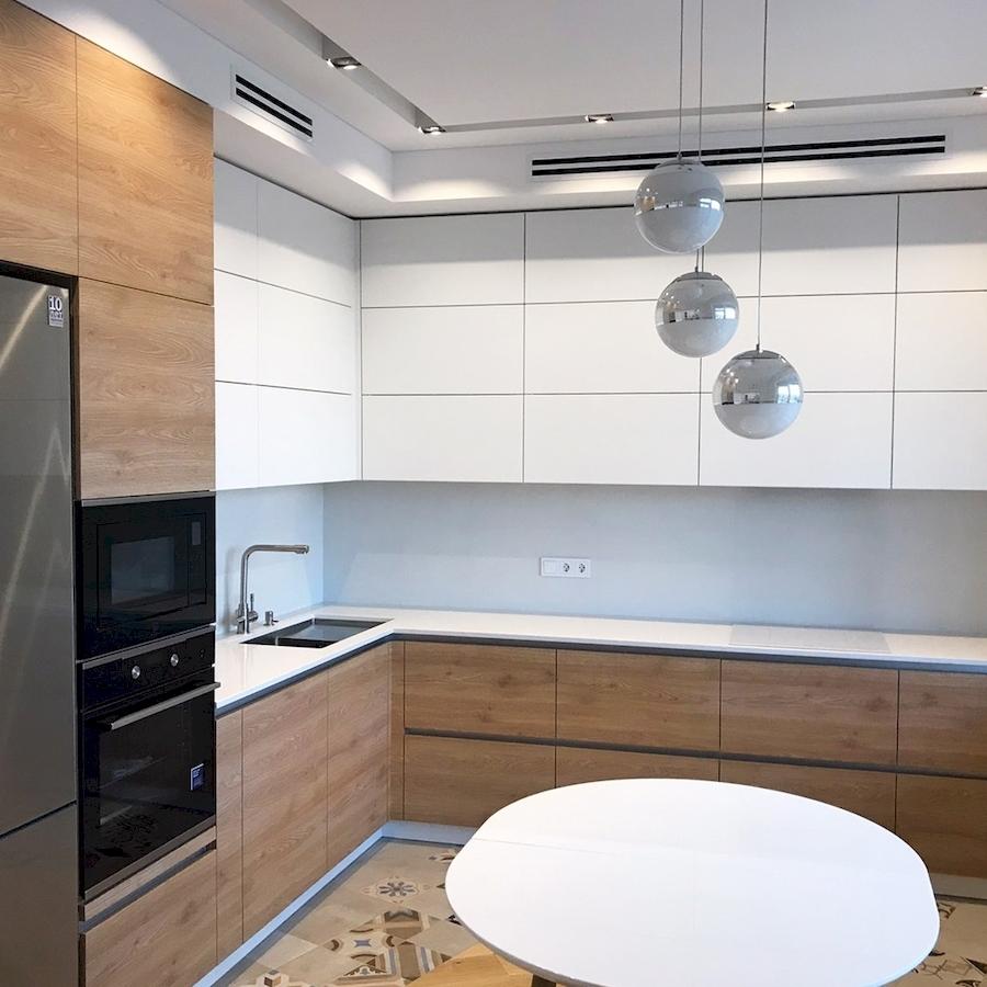 Белый кухонный гарнитур-Кухня из пластика «Модель 595»-фото1