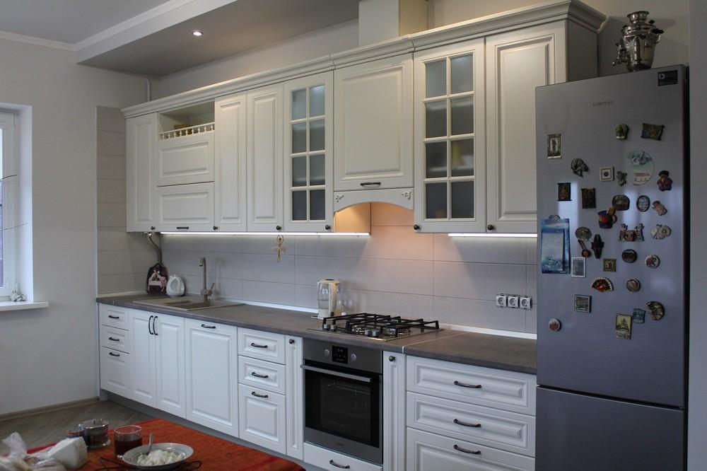 Белый кухонный гарнитур-Кухня МДФ в эмали «Модель 190»-фото2