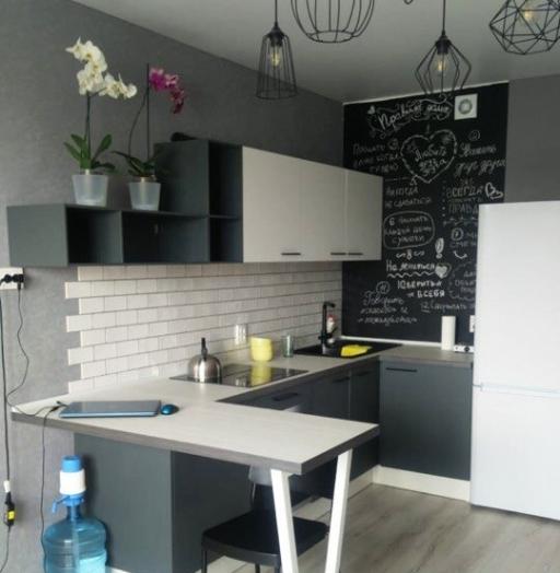 Белый кухонный гарнитур-Кухня из пластика «Модель 381»-фото4